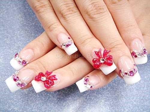 3D Flower Nail Art Design For Long Nails