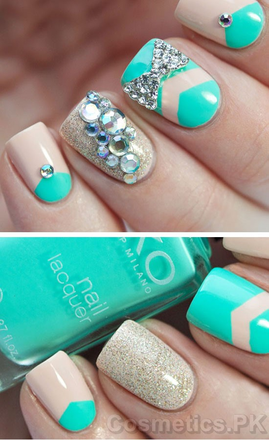 - Aqua Nail Art Design For Short Nails