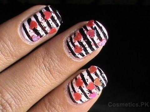 Black White Heart Nail Art Design For Short Nails