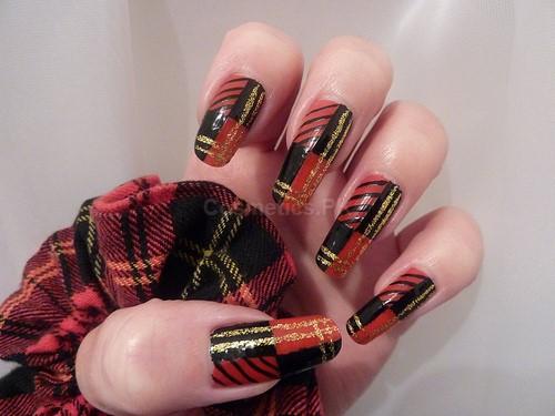 Maroon And Black Nail Art Design For Long Nails