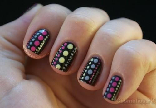 Multi Color Nail Art Design For Short Nails