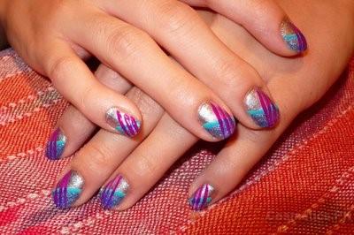 Multi Shade Nail Art Design For Short Nails