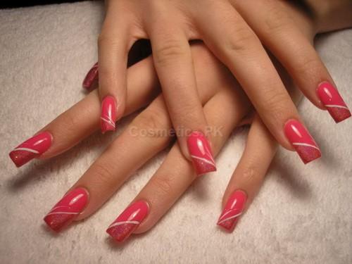 Pink White Mix Nail Art Design For Long Nails