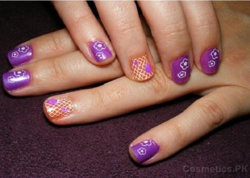 Purple Nail Art Design For Short Nails