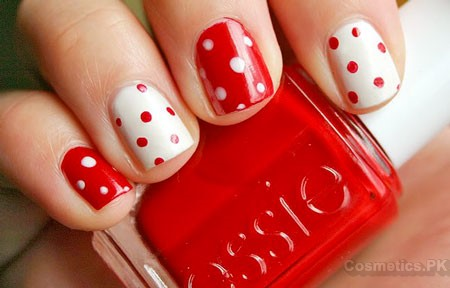 Red And White Nail Art Design For Short Nails