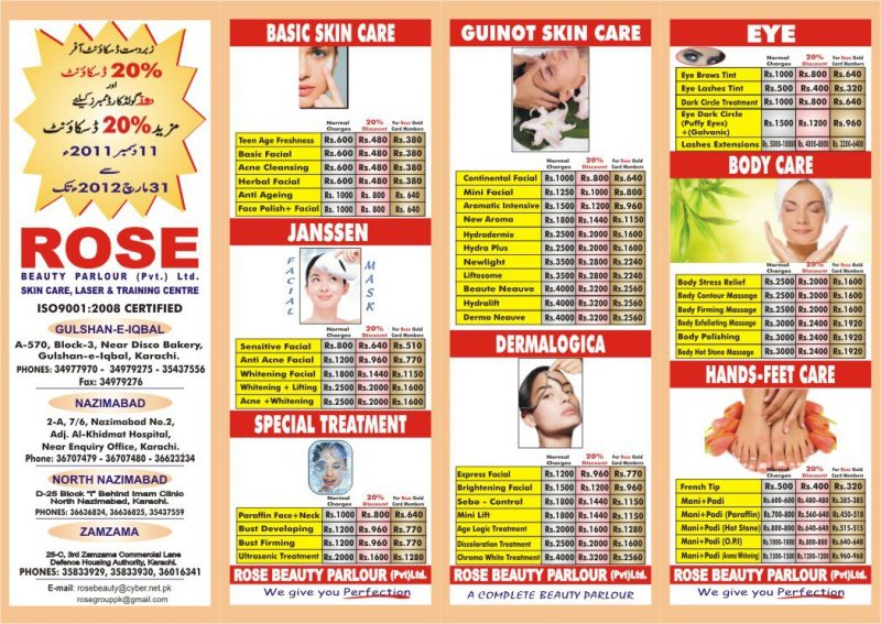 Rose Beauty Parlour Bridal Amp Services Prices Branches