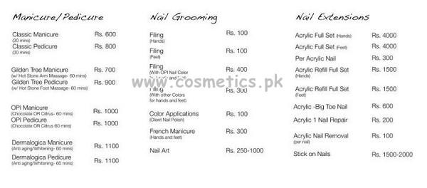 Manicure/Pedicure, Nail Grooming, Nail Extensions Charges