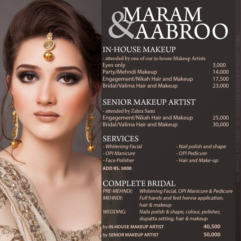 makeup artist prices for weddings maram amp aabroo salon and studio services makeup price list 5656