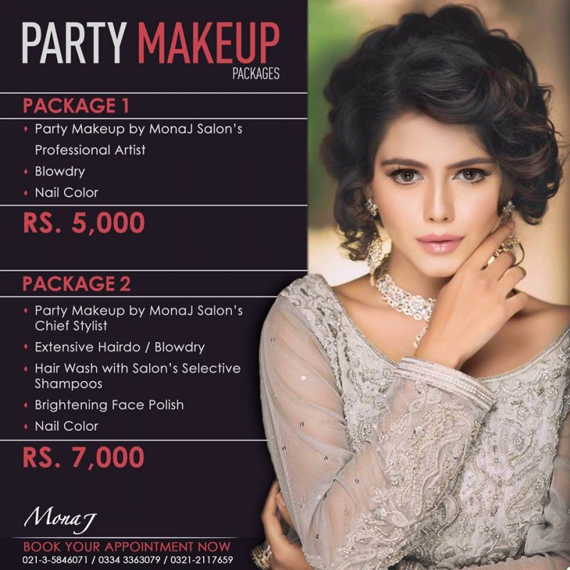 Mona j salon spa party makeup package 1 and 2 for Mona j salon contact