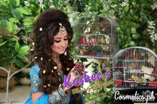 Latest Bridal Hairstyling By Kashee's Beauty Parlour 2015 – Beaded Bridal Hairstyle