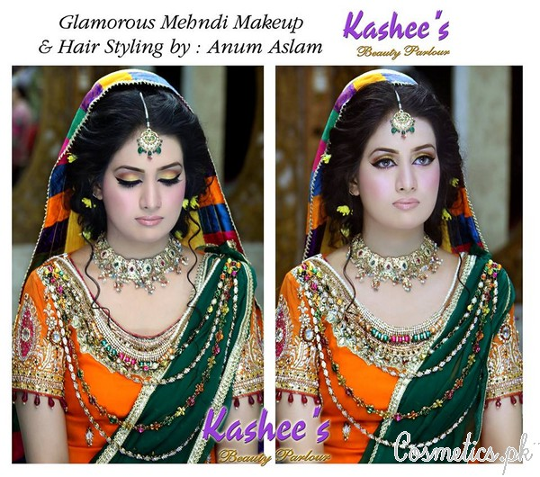 Latest Bridal Makeup by Kashee's Beauty Parlour 2015 - Mehndi Makeup 1