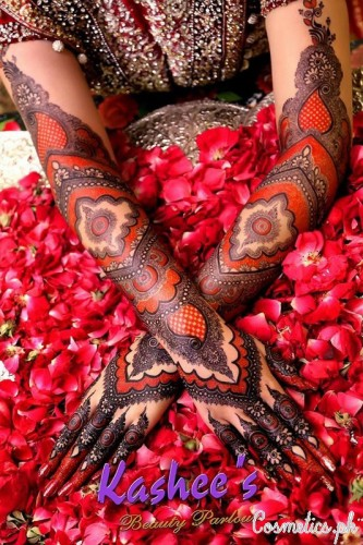 Bridal Mehndi and Hairstyling By Kashee's - Red Bridal Hand Mehndi