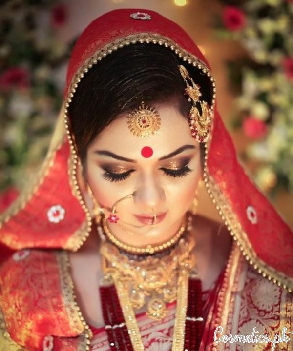 Latest Indian Bridal Eye Makeup 2015 Golden Brown