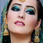 Latest Indian Bridal Eye Makeup 2015 - Green and Blue
