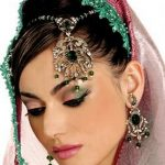 Latest Indian Bridal Eye Makeup 2015 - Green and Pink
