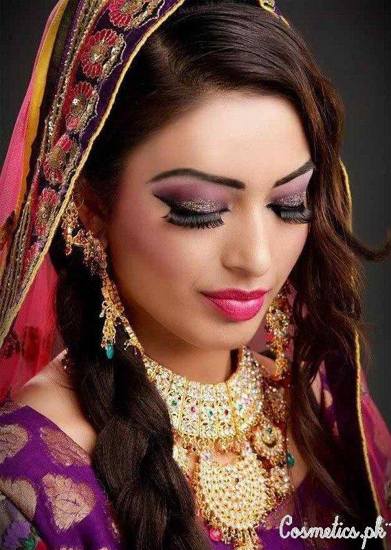 Latest Indian Bridal Eye Makeup 2015 Shimmery Purple