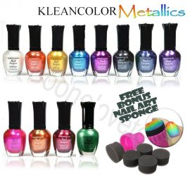 12 Kleancolor METALLIC Nail Polish Lacquer 15mL Choose Shade NEW GOLD BLACK 705